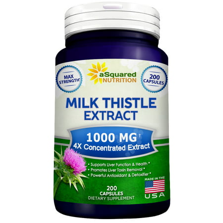 aSquared Nutrition Milk Thistle Supplement 1000mg -200 Capsules- Pure Max Strength 4X Concentrated Extract 4:1 Milk Thistle Seed Powder Herb Pills, 1000mg Silymarin Extract for Liver Support, (Nutrition Liver)