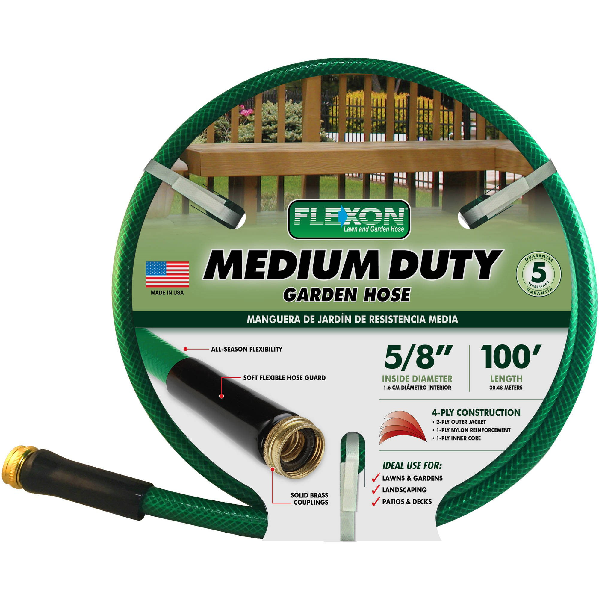 Flexon 100' Medium-Duty Garden Hose, Green by Flexon Industries