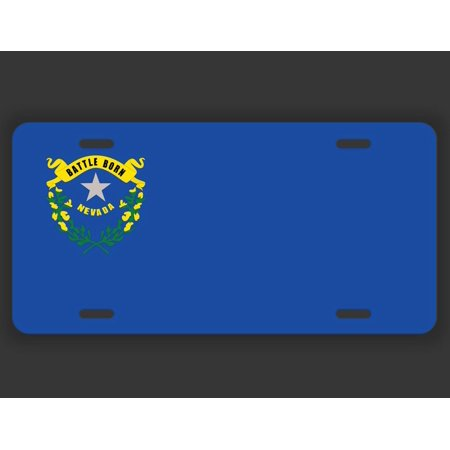 Nevada State Flag License Plate Tag Vanity Novelty Metal | UV Printed Metal | 6-Inches By 12-Inches | Car Truck RV Trailer Wall Shop Man Cave | VLP053