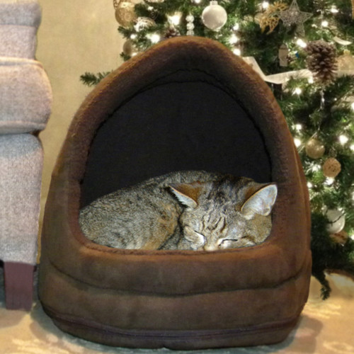 FurHaven Snuggle & Terry Suede Hood Cat Bed