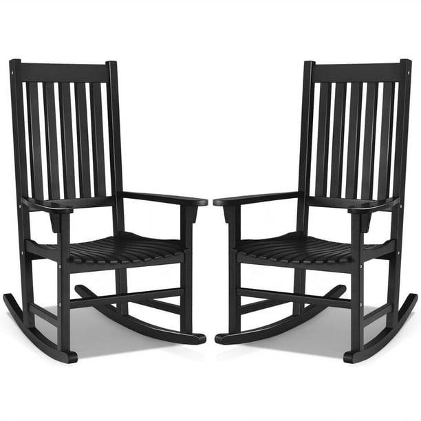 Gymax 2pcs Wood Rocking Chair Porch, Wood Rocking Chair Outdoor Black