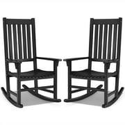 Gymax 2PCS Wood Rocking Chair Porch Rocker High Back Garden Seat Indoor Outdoor