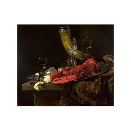 Still Life with the Drinking-Horn of the St. Sebastian Archers' Guild, Lobster and Glasses, C.1653 Print Wall Art By Willem Kalf