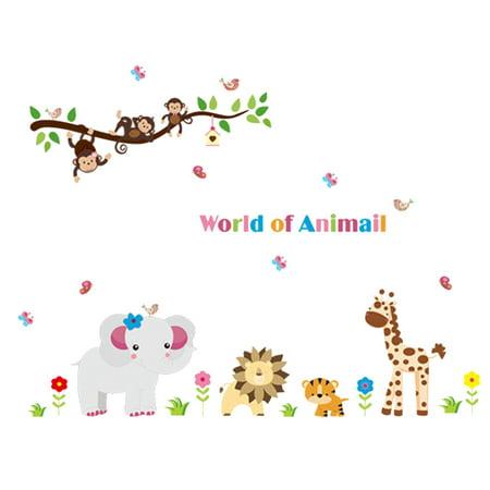 Nursery Animals Pattern PVC Removable Wall Sticker Paper Mural Decoration - image 1 de 1