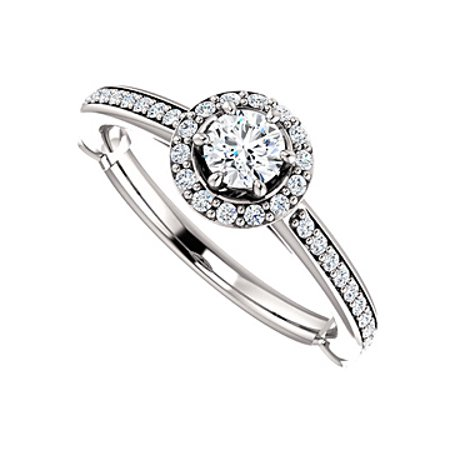 Elegant and Simple Cubic Zirconia Halo Ring in Silver - image 2 of 2