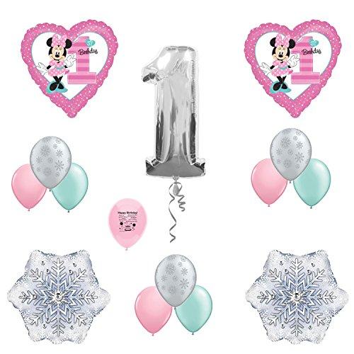 Minnie Mouse 1st Birthday Winterland Party Balloon Decoration Set