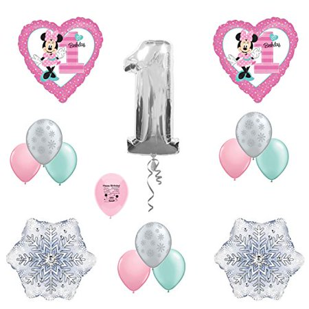 Minnie Mouse 1st Birthday Winterland Party Balloon Decoration Set