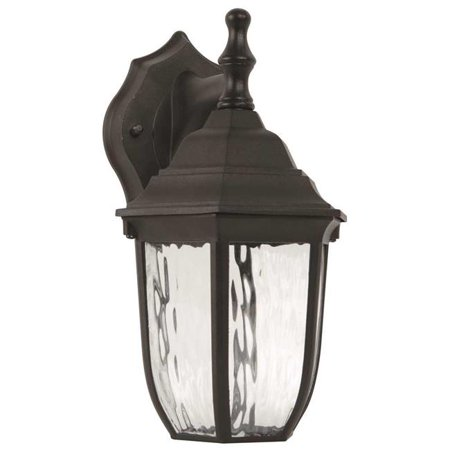 F9921-31 Clear Water Glass, 10.87 in., Uses 6 Watt LED Integrated Panel, LED Outdoor Lantern, Black