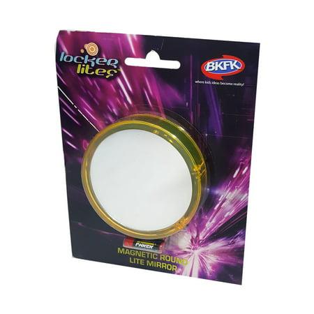 Locker Lites Magnetic Round Lite Mirror Yellow (Lite Mirror)
