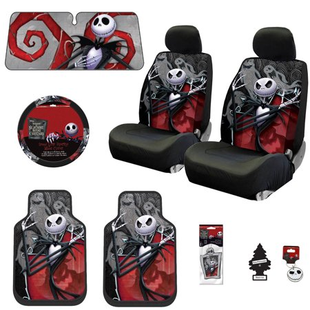 New 15 Pieces Nightmare Before Christmas Jack Skellington Ghostly Car Truck SUV Seat Covers Floor Mat Bundle
