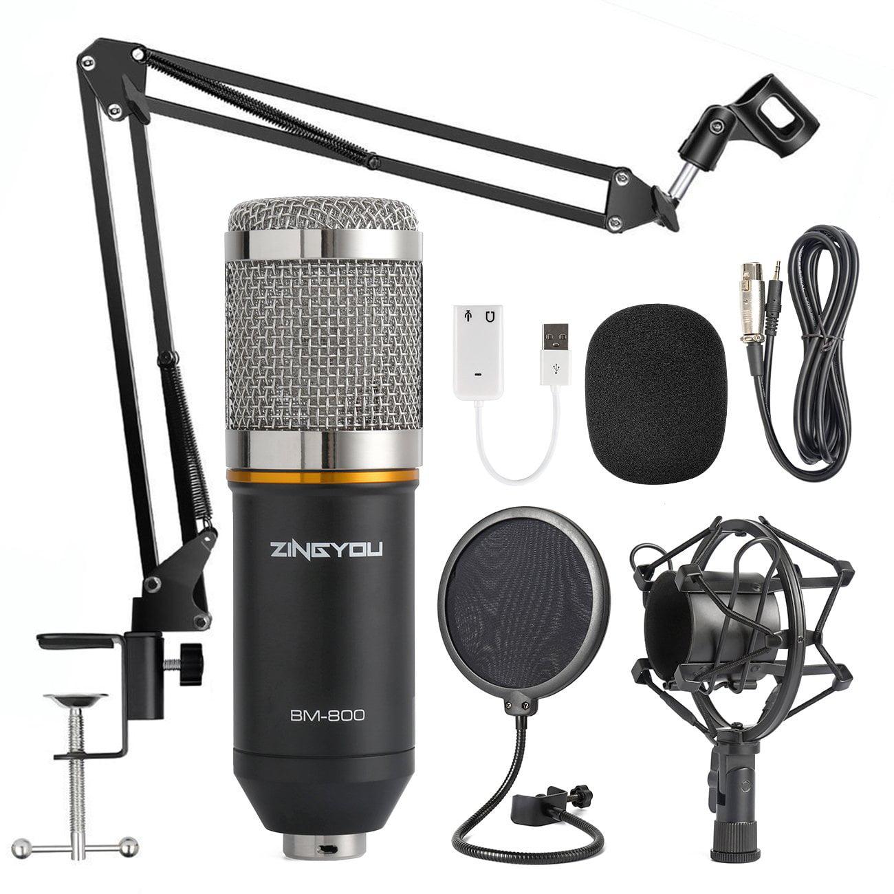 Gohope Condenser Microphone Bundle Bm 800 Mic Kit With Adjustable Mic Suspension Scissor Arm Shock Mount And Double Layer Pop Filter For Studio Recording Brocasting Bm 800 Microphone Bundle Walmart Canada