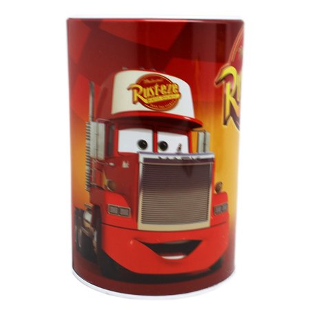 Disney Pixar's Cars Rust-eze Red/Yellow Cylindrical Kids Coin Bank (Tank Car Bank)