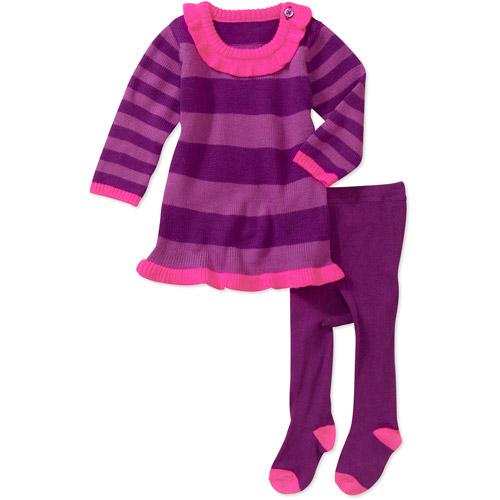 Healthtex Newborn Girls' Sweater Dresses with Tights