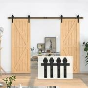 Homlux 10 ft Sliding Double Barn Door Hardware Kit, Barn Door Track and Hardware Kit, Black (I Shape Hanger)