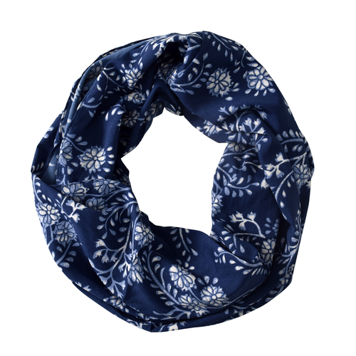 Peach Couture Light Weight Trendy Floral Print Infinity Loop Circle Scarf Navy