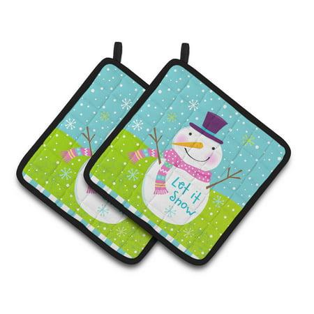 - Christmas Snowman Let it Snow Pair of Pot Holders