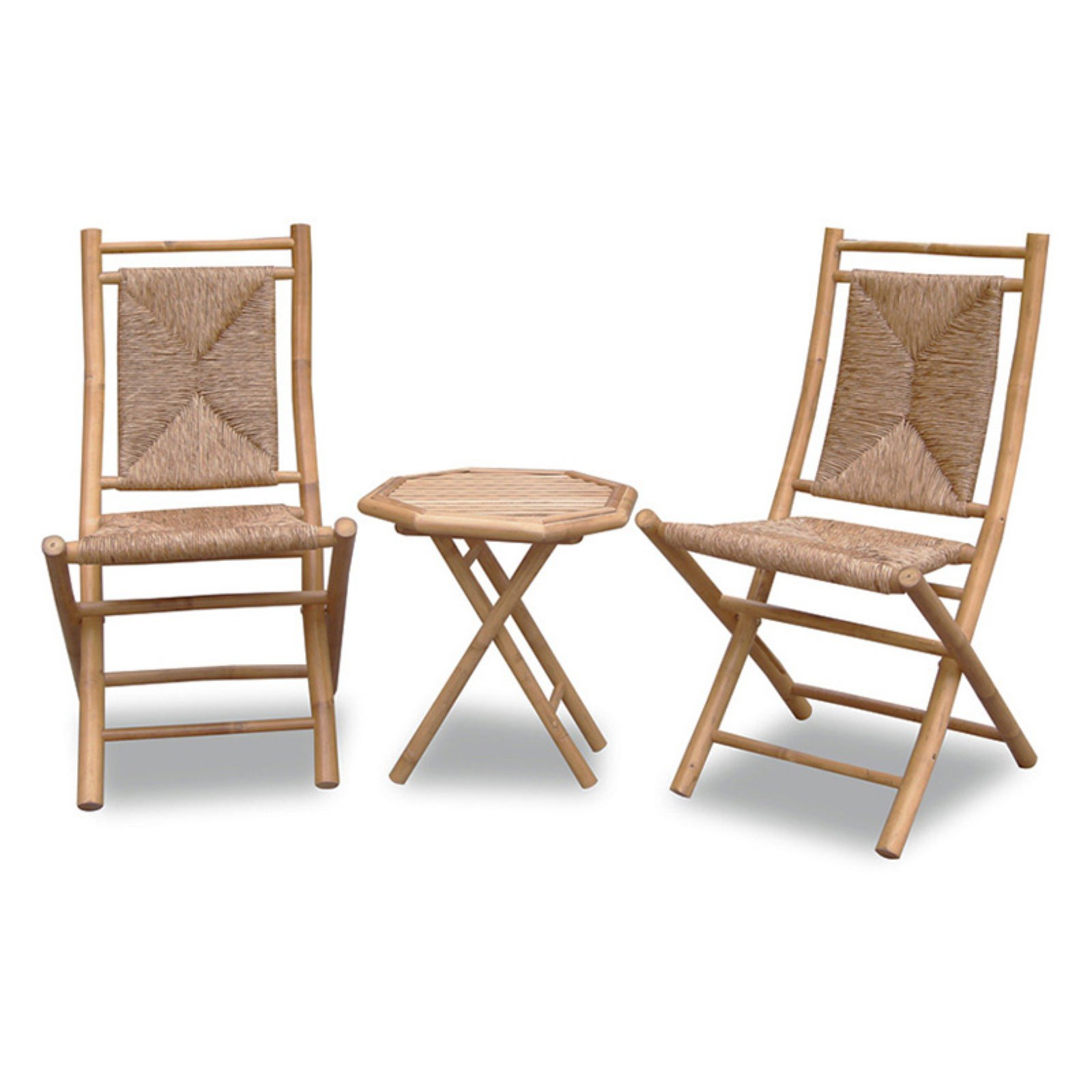 Heather Ann Creations Lanai 3 Piece Bamboo Patio Conversation Set