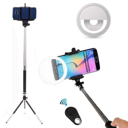 EEEKit 5in1 Selfie Kit for Samsung Galaxy S10 S9 Note 9 8 iPhone X 8 8 Plus, Selfie Stick Pole Monopod, Ring Fill Light Up Flash Luminous LED, Mini Tripod Stand, Mini Remote Control