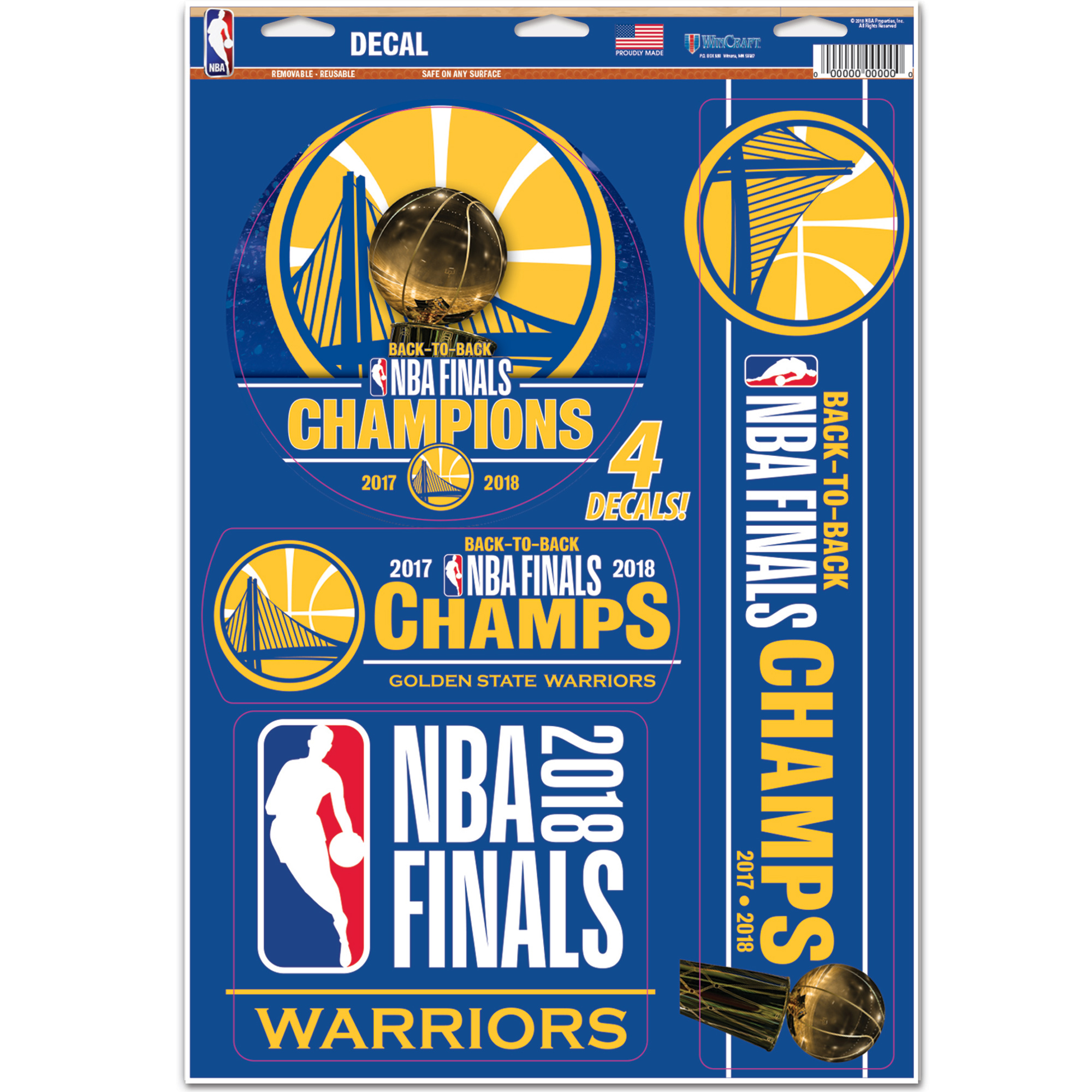 """Golden State Warriors WinCraft 2018 NBA Finals Champions 11"""" x 17"""" Multi-Use Decal Sheet - No Size"""