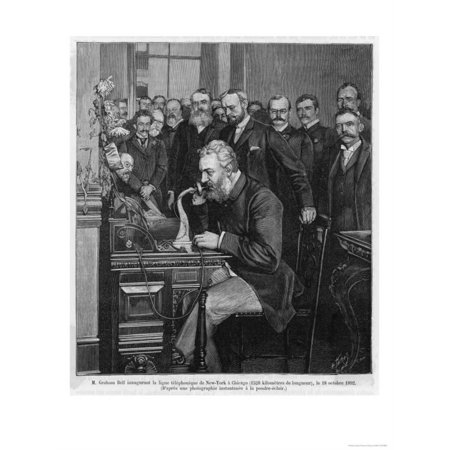 - Alexander Graham Bell American Inventor and Educator Inaugurates the New York- Chicago Telephone Print Wall Art
