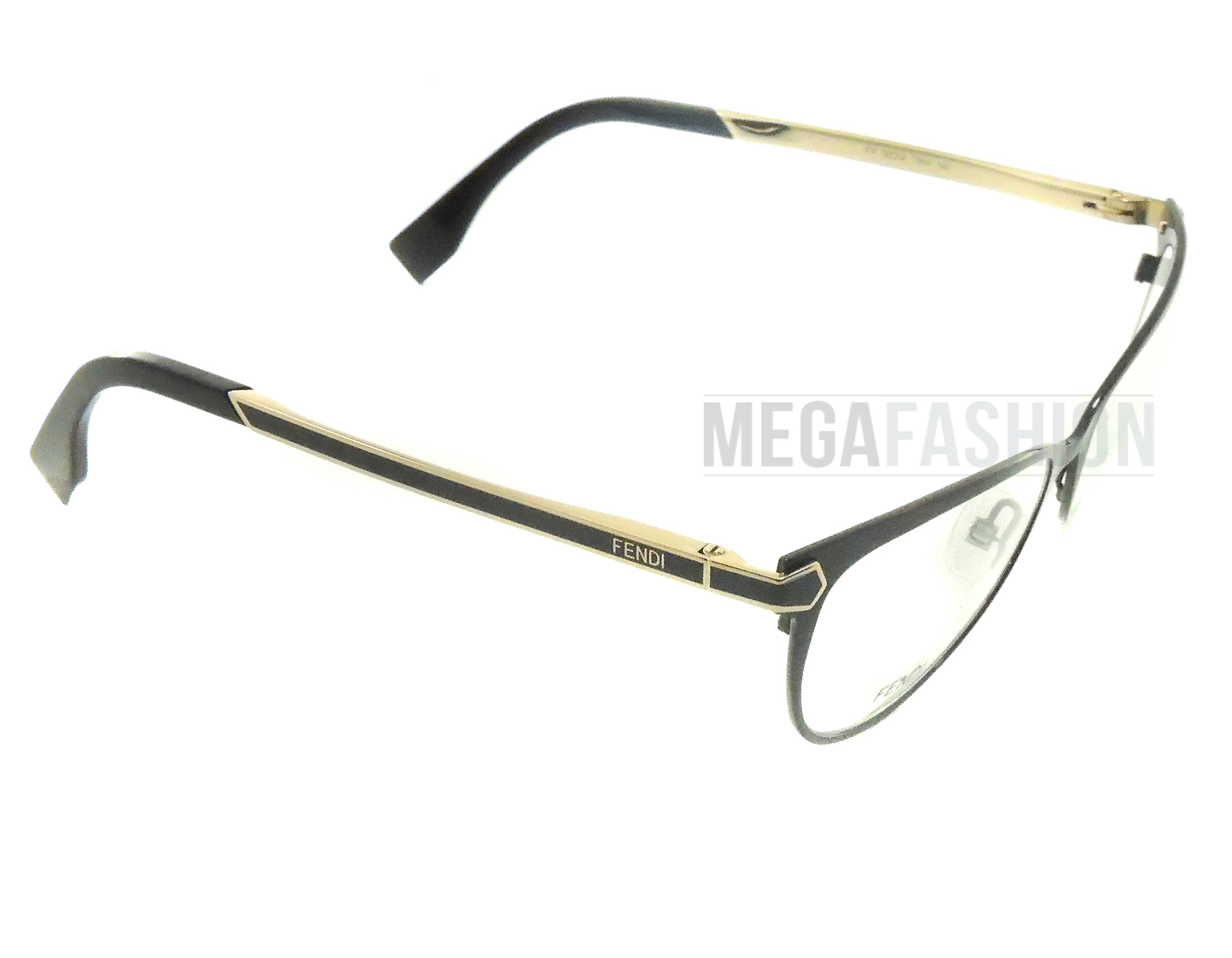 6bd84bf577 Authentic Fendi FF-0024-7WH-140 Eyeglasses GLOSSY BLACK GOLD PLASTIC CAT  New - Walmart.com