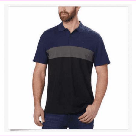 Calvin Klein Men's Pique Short Sleeves 2 Button Front Polo 2XL/Black Combo