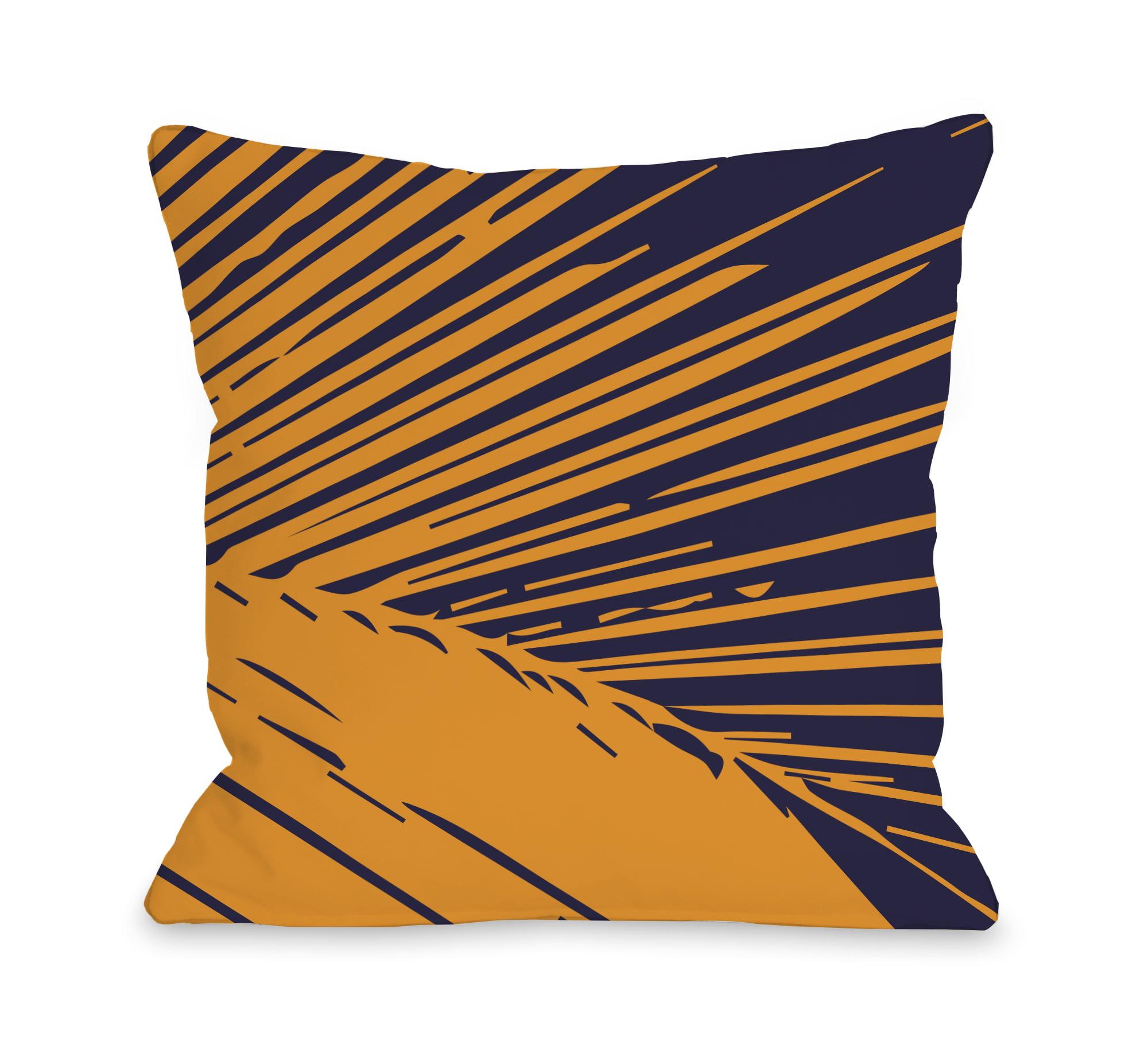 Alaiya Palm Leave - Navy Orange 18x18 Pillow by OBC
