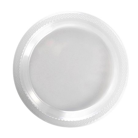 "Exquisite 7"" Disposable Plastic Plates Bulk - 100 Count Party Pack - Premium Plastic Disposable Dessert/Salad Plates, Clear"