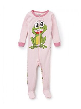 Elowel Baby Girls footed Frog pajama sleeper 100% cotton 12-18 Months
