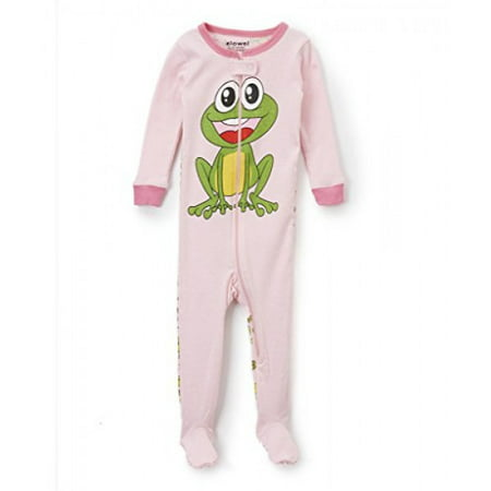 Elowel Baby Girls footed Frog pajama sleeper 100% cotton 12-18 Months - Frog Footed Pajamas