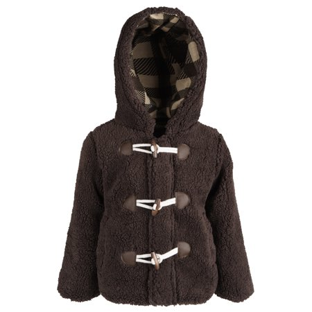 Wippette Little Boys Hooded Knit Lined Plush Fleece Puffer Toggle Winter (Leather Jacket With Knit Sleeves And Hood)
