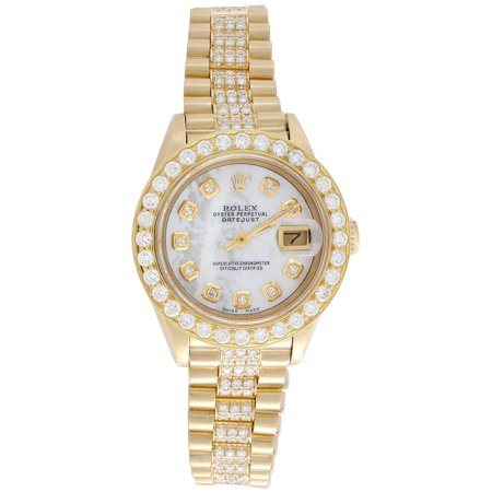 Diamond Mop Watch (Rolex 18K Gold President 26mm DateJust 69178 VS Diamond White MOP Watch 3.70 CT.)