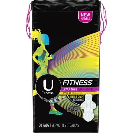 U by Kotex Fitness Ultra Thin Pads with Wings, Regular Absorbency, Unscented, 30