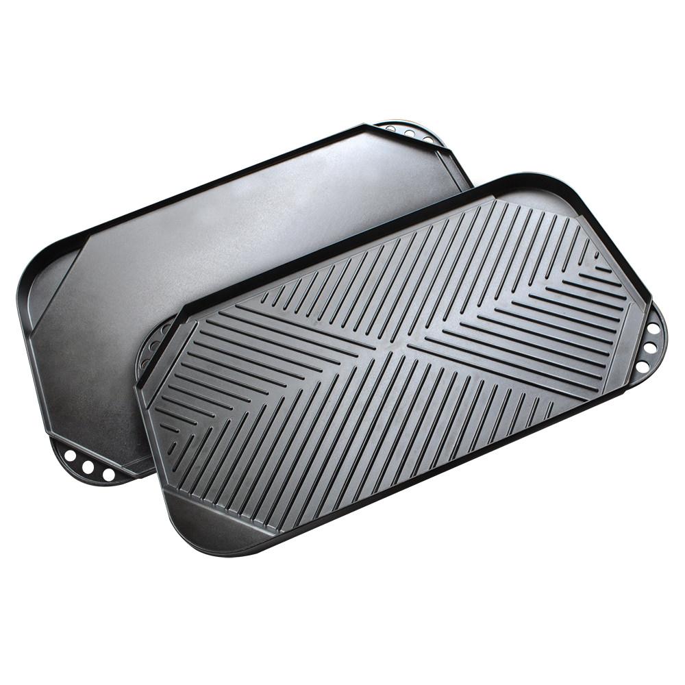 """Ecolution Kitchen Extras Non-Stick Cast Aluminum 19 1/2"""" x 11"""" Double Burner Reversible Grill/Griddle"""