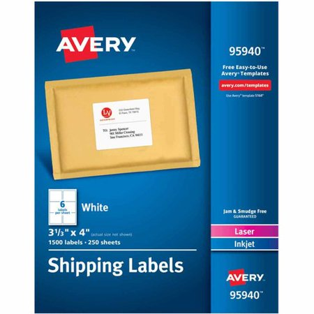 Avery White Shipping Labels, Laser/Inkjet, 3-1/3
