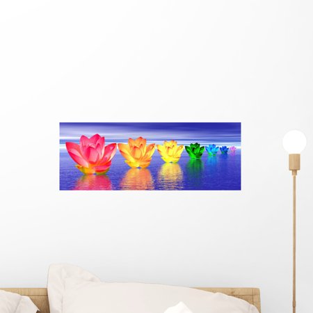 Night Peel (Lily Flowers Chakras Night Wall Mural by Wallmonkeys Peel and Stick Graphic (18 in W x 7 in H) WM276860 )