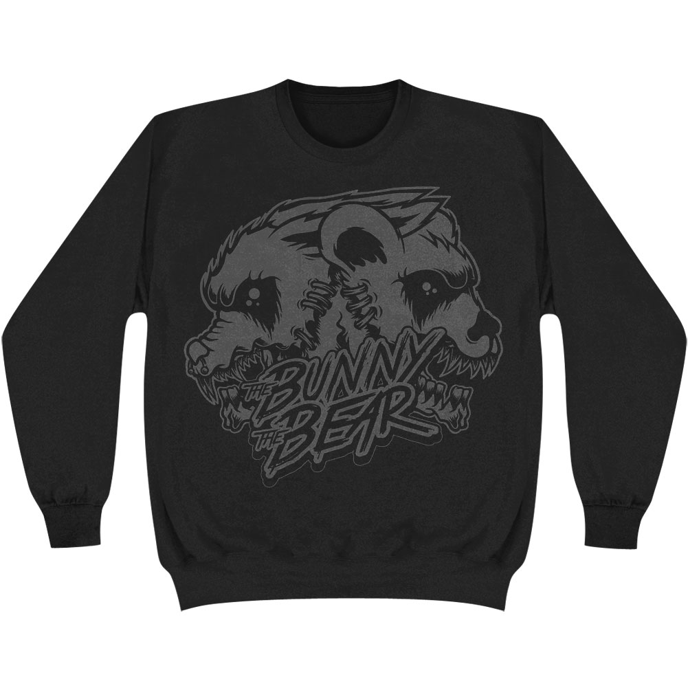Bunny The Bear Men's  Skull Black On Black Sweatshirt Black