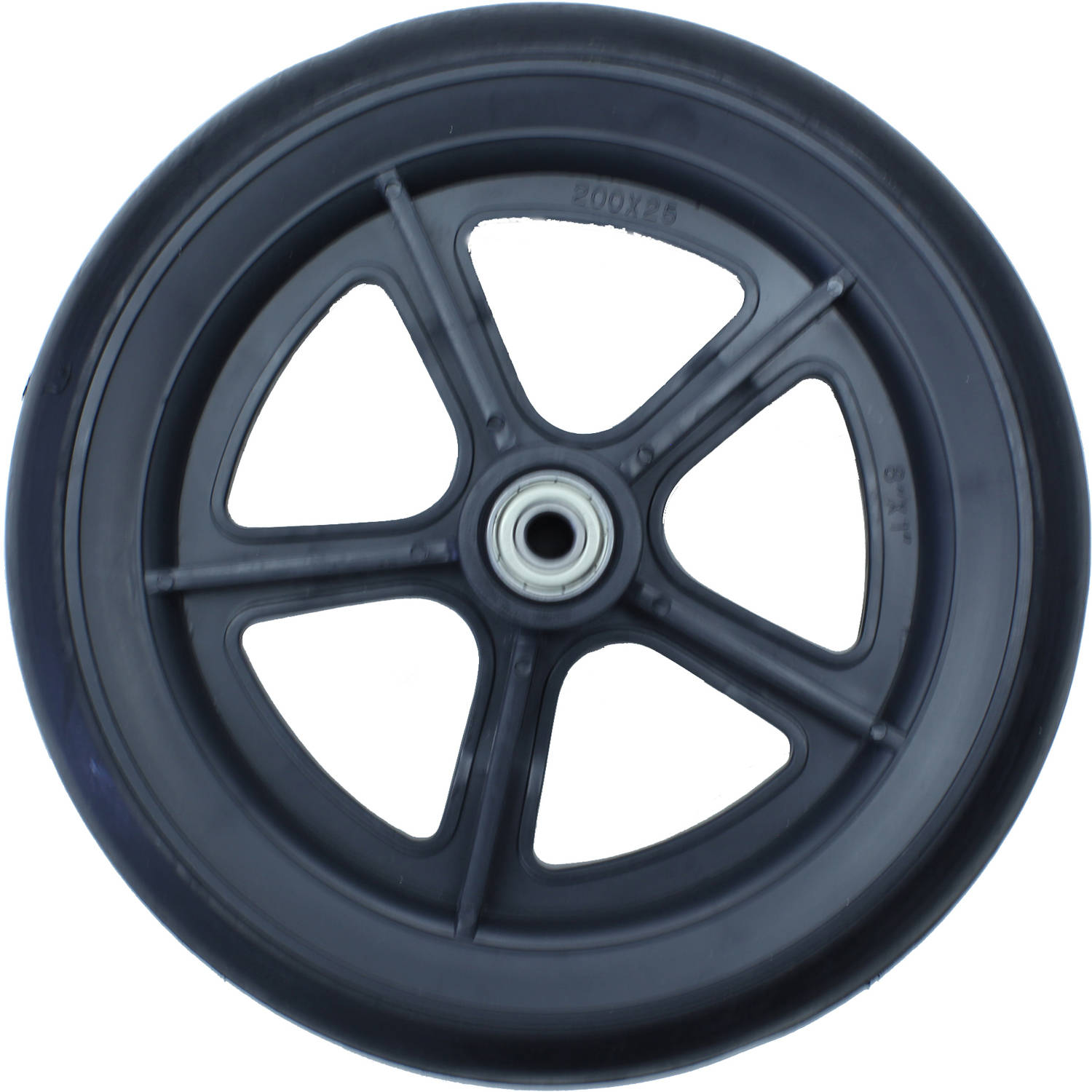 "Karman 8"" Wheelchair Casters, Solid Black with 5/16 Bearing"