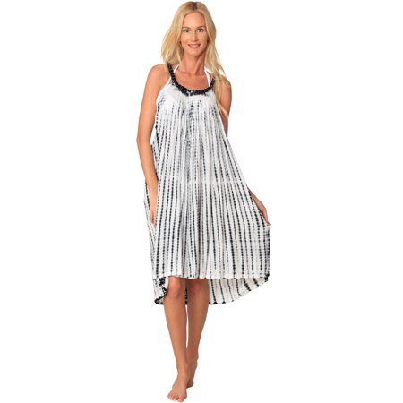 bf819cb464 InGear - Ingear Sleeveless Loose Tie Dye Bead Shift Beach long Dress Casual Cover  Up - Walmart.com