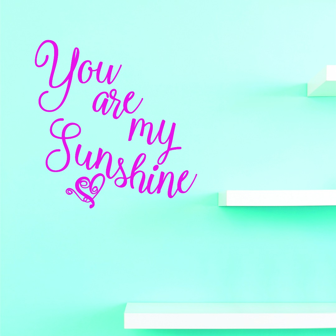 Custom Wall Decal Vinyl : You Are My Sunshine. Home Decor Picture Art 10 X 20 Inches