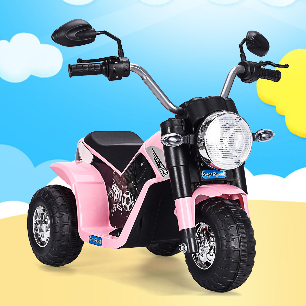 Jaxpety 6V Kids Ride On Motorcycle Toy Battery Powered Electric 3 Wheel Bicycle Pink