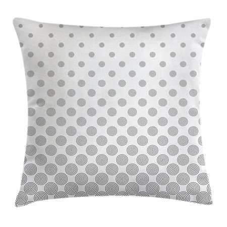 Geometric Circle Decor Throw Pillow Cushion Cover, Spiraling Rotary Circle Turning to Polka Dots Concentric Grid Lines, Decorative Square Accent Pillow Case, 16 X 16 Inches, Grey White, by