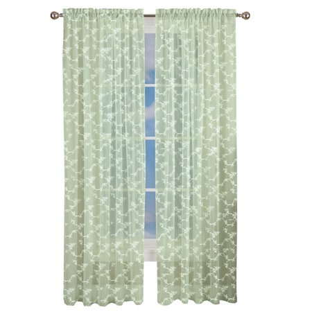 Abilene Sage - Elegant Embroidered Floral Sheer Curtain Panel with Rod Pocket Top, 84