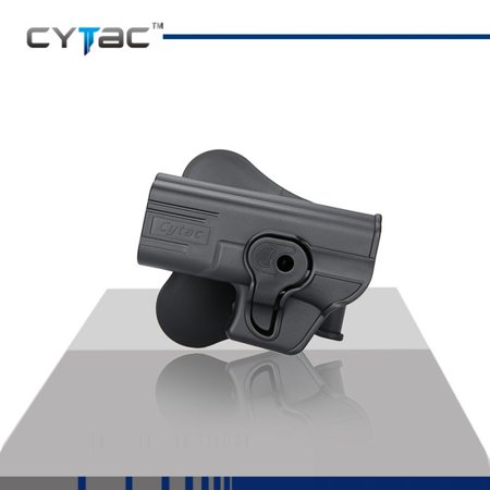 CYTAC Left Hand GLOCK Paddle Holster with Trigger Release 360 degree Adjustable Cant, Polymer Holster Injection Molded for GLOCK 19 23 32 OWB Carry, LH | 7 attachment options