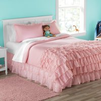 Your Zone Nova Organza Ruffle Layers Blush Comforter Set Full