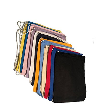 Set of 12 Cotton Drawstring Backpacks Sports Cinch Sack Bag Assorted Colors (Softball Drawstring Bags)