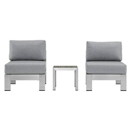 Modway Shore 3-Piece Outdoor Patio Aluminum Sectional Sofa Set, Multiple Colors