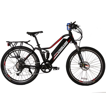 X-Treme Sedona 48 Volt High End Women's Step-Through Frame Electric Mountain Bicycle | Black, Red and