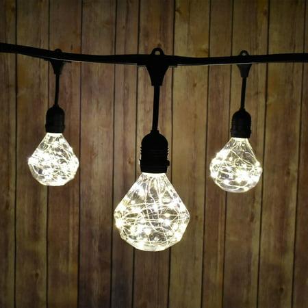 Fantado 48-Foot Shatterproof DM100 LED String Light Outdoor Commercial Weatherproof SJTW Suspended Cord Black, 15 Bulb, 45 Total Watts, Grounded by PaperLanternStore (Nba String Lights)