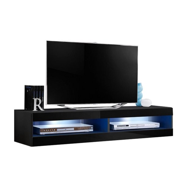 """Fly Modular Wall Mounted Floating 63"""" TV Stand (Type-34) Black"""
